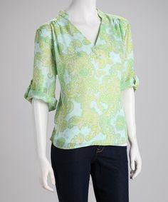 Take a look at this Larsen Grey Green Batik V-Neck Top by Larsen Grey on #zulily today!