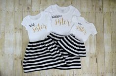 Matching Sister Outfits, Big Sister Outfits, Little Girl Outfits, Sister Photos, Sibling Shirts, Bodysuit, Three Sisters, Baby Sister, Knit Shirt