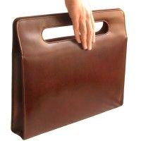 Hamosons – Luxus Aktentasche / Handtasche für Damen, aus Leder, Kastanien-Braun, Modell 766 kaufen