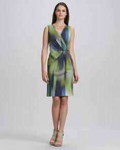Laurel Sleeveless Warp-Print Dress by Lafayette 148 New York at Neiman Marcus.
