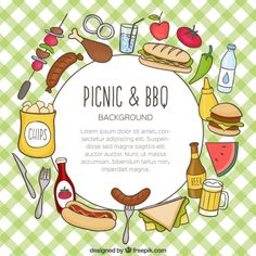 Hand drawn food for picnic and barbecue background Free Vector