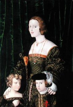 Catherine of Aragon's sister Juana of Castile with her eldest children: Eleanor of Habsburg, Queen of Portugal and France, and Charles V, King of Spain and Holy Roman Emperor.