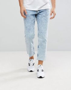 New Look Skate Fit Jeans In Acid Wash Blue