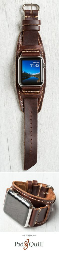 http://www.PadandQuill.com Meet the Lowry Cuff Leather Apple Watch band. Built from the finest American full-grain leather, stitched with parachute grade stitching, and hand crafted in the USA. Available for $129.95 at Pad & Quill. #applewatch