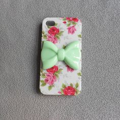 Studded Iphone 4/4S/5/5s case, Iphone 4s Case,mint green bow Iphone Case, red Flower Rose white Iphone 4/4/5S Case, Hard case,floral case on Etsy, $9.99