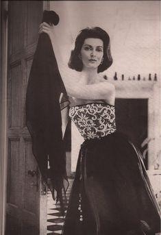 Carmen Del'Orifice in Mr. Blackwell Dress, photo by  Lillian Bassman