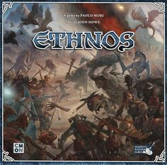 In Ethnos, players call upon the support of giants, merfolk, halflings, minotaurs, and other fantasy tribes to help them gain control of the land. After three ages of play, whoever has collected the most glory wins!  In more detail, the land of Ethnos contains twelve tribes of fantasy creatures, and in each game you choose six of them (five in a 2/3-player game), then create a deck with only the creatures in those tribes. The cards come in six colors, which match the six regions of Ethno...