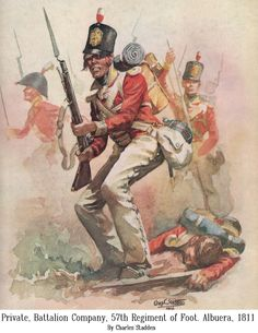 SOLDIERS- Stadden: NAP- Britain: British Private Battalion Company 57th Regiment of Foot at Albuera 1811, by Charles Stadden.