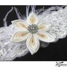Wedding Keepsake and Toss Garter Set  with silk kanzashi flower