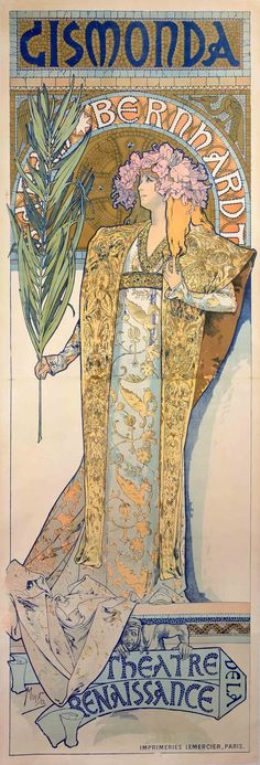 """Not only was it the send off for Mucha's career, but also for the Art Nouveau style, which was originally known as Style Mucha. His images are recognizable by their flowing, graphic lines—taken up in the hair of the many women he drew who are wrapped in draping gowns with flowing ribbons and wreathes of flowers or stars adorning their heads."""