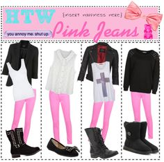 """""""How To Wear Pink Jeans"""" by totally-tipsy-girls ❤ liked on Polyvore"""