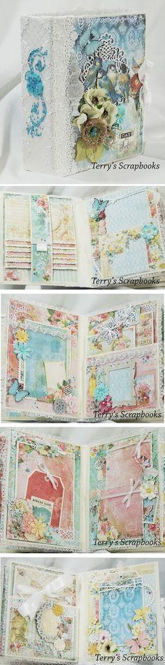 Terry's Scrapbooks: Blue Fern Frolic Mini Album Reneabouquets encuadernación en espina, shabby chic, flores, cascadas, puntillas