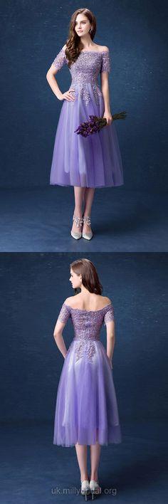 Purple Prom Dresses Short, Lace Prom Dresses For Teens, A-line Formal Party Dresses Off-the-shoulder, Tulle Evening Dresses Tea-length, Short Sleeve Pageant Dresses Modest