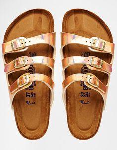 4da118ede8bf Birkenstock Florida Triple Strap Copper Slider Flat Sandals Birkenstock  Sandals