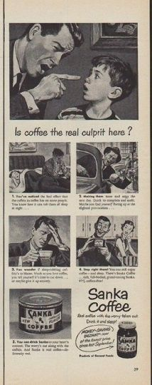 "Description: 1950 SANKA COFFEE vintage print advertisement ""the real culprit"" -- Is coffee the real culprit here? Sanka Coffee ... Real coffee with the worry taken out. Drink it and sleep! -- Size: The dimensions of the half-page advertisement are approximately 5.25 inches x 14 inches (13.25 cm x 35.5 cm). Condition: This original vintage half-page advertisement is in Excellent Condition unless otherwise noted."