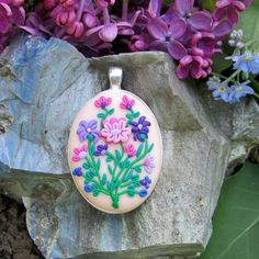 free shipping jewelry lilac floral pendant fashion stlye boho hippie gift for her by FloralFantasyDreams on Etsy