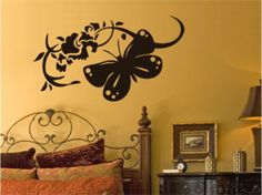 Vinilo decorativo Butterfly and flowers