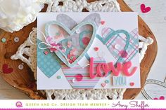 Shaker hearts in adorable love card.