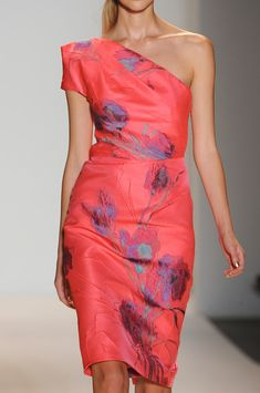 Lela Rose Spring 2013.....love this color and pattern in the fabric...don't like bare shoulder