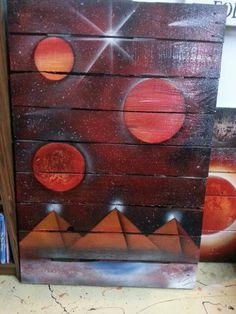 Spray paint art pyramids