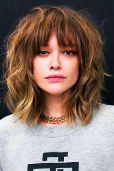 Long Bangs - - Hair Messy Shag ❤ Want to go for stylish wispy bangs? Our short, soft fringes for long hair, shoulder length bob with layers and thin side swept bags, and ideas for round faces are here to inspire you! Long Fringe Hairstyles, Easy Hairstyles For Medium Hair, Hairstyles Haircuts, Hairstyles For Long Faces, Medium Shag Haircuts, Fringe Bob Haircut, Haircut Bangs, Bangs Hairstyle, Short Hairstyle