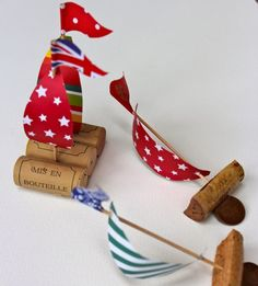 Cork boats. Float them in a wide container filled with water and blow with straws! Good craft/activity item for any party.