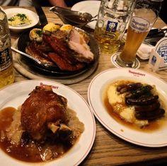 When in Germany!! #meat #beer #instafood #pedlerfamilyeurotrip #travel #wanderlust #germany #berlin #getsomeporkonyourfork #augustiner #porkknuckle #sausage #foodporn by westietse #haxenhaus #people #food