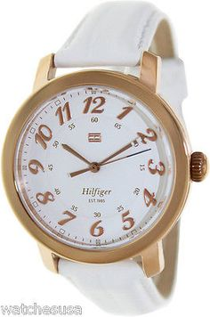 Tommy Hilfiger 1781220 Olivia White Dial Leather Strap Women's Watch - http://elegant.designerjewelrygalleria.com/oliva/tommy-hilfiger-1781220-olivia-white-dial-leather-strap-womens-watch/