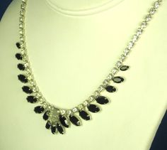 30% off Sale until 11/21/15 A unique #vintage rhinestone and #black glass #necklace from B. David.  This breathtaking piece of costume jewelry is crafted from a rhodium plated metal foundation which form... #diamonds #gold #rings #white #choker #judysgems2 #teamlove #prom #wedding #present #women