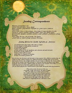 Sunday Correspondence magick information spell page - LaPulia Book of Shadows Magick Spells, Wicca Witchcraft, Luck Spells, Wiccan Witch, Reiki, Pagan Calendar, Witchcraft Supplies, Witch Spell, Sabbats