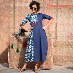 Buy RustOrange Indigo Dabu Hand Printed Asymmetric Panelled Kurti online in India at best price.Dabu hand printed cotton fabrics, modern cuts, tassel details, pom poms and more, this collection takes Kurti Patterns, Dress Patterns, Sewing Patterns, Indian Attire, Indian Wear, Coleslaw, Cotton Gowns, Maxi Skirt Black, Keto