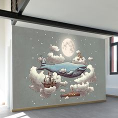 Ocean Meets Sky Wall Mural A fantasy century dream wall mural with a whale, sailing ship and submarine floating above the clouds on a moonlit night sky. Available in both removable peel-and-stick and permanent wallpapers. Printed with child-safe inks. Kids Wall Decor, Nursery Wall Decor, Baby Room Decor, Art Wall Kids, Wall Art, Diy Wall, Painted Wall Murals, Room Wall Painting, Diy Painting