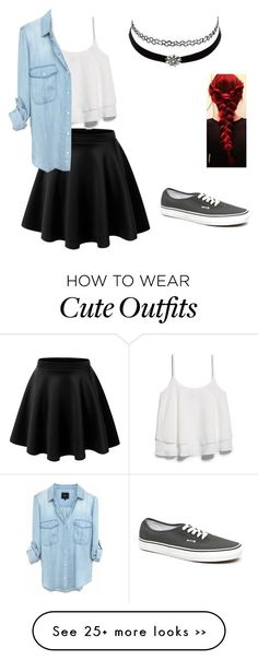 """Cute and edgy school outfit"" by morganplante on Polyvore"