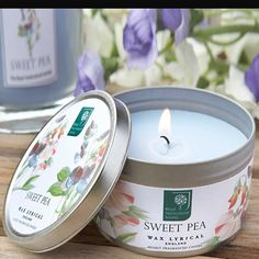 The summer scent of a English garden. RHS wax lyrical sweet pea candle tins. Great gifts.