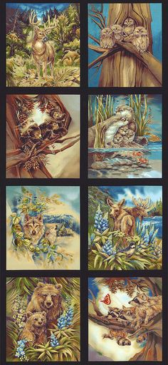 """North American Wildlife 5 - Springtime Babies - 24"""" x 44"""" PANEL - Quilt Fabrics from www.eQuilter.com"""