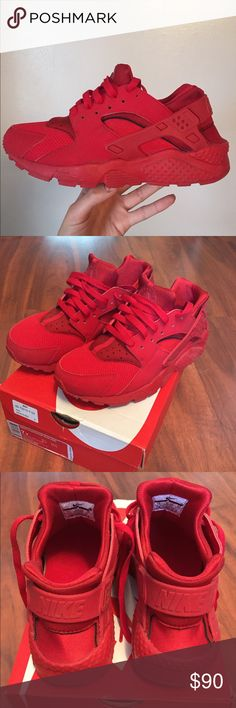Nike Huaraches NIKE. All red huarache run. Size 7Y (boys) but fits an 8.5 in women's. In excellent condition; only worn once. They run small, but are extremely comfortable if they fit right. Make an offer! Nike Shoes Sneakers