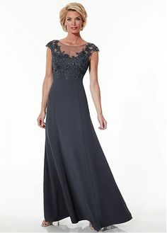 Chiffon A-line Gown Beteau Neckline Floor-Length Mother Dress