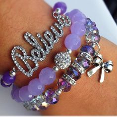 Purple and silver bracelet stack