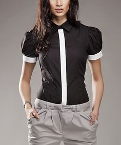 Look at this #zulilyfind! NIFE Black & White Contrast Button-Up Top by NIFE #zulilyfinds