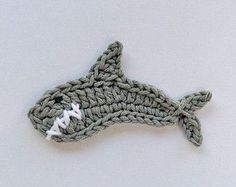 Instant Download - PDF Crochet Pattern - Shark Applique - Text instructions and SYMBOL CHART instructions