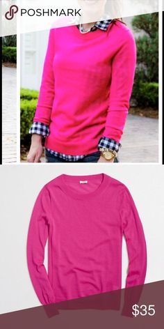 J.Crew Factory • pink sweater Bright pink sweater. Long sleeve, 50% acrylic/ 50% merino wool. Excellent used condition. J. Crew Factory Sweaters Crew & Scoop Necks