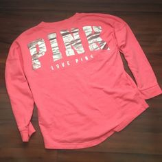PINK CREW I love this with ..OF COURSE.. Leggings.                        The foil has fading on the back.                                         And there is a spot on the front☹️ PINK Victoria's Secret Sweaters Crew & Scoop Necks