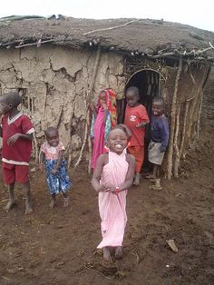 In the Maasai villages of Kenya, the houses are built by the women from tree branches, leaves & cow dung. It takes one woman several months to complete one home which usually lasts for about 5 years.