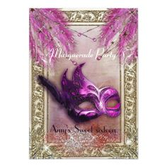 Masquerade Party Invitations Purple & Gold masquerade sweet 16 Birthday party Card