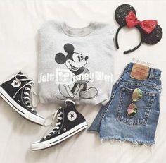 Walt Disney World sweater / denim cutoffs / Chuck Taylor Converse in black / Minnie Mouse headband / aviator sunglasses Disney World Outfits, Cute Disney Outfits, Disneyland Outfits, Disney Inspired Outfits, Disney Style, Disney Clothes, Disneyland Trip, Mode Outfits, Outfits For Teens