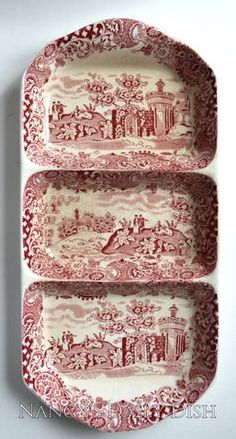 Vintage Red Transferware Divided Relish Tray Strolling Couple Gazebo Geometric Border Landscape