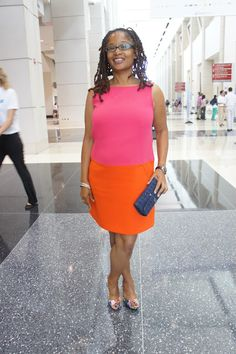 @Ananda Underwood Leeke  showing us her mod style from Ann Taylor Circa 2012 at #BlogHer13 on July 26, 2013. Ananda was a conference speaker at BlogHer. She spoke about social media leadership.
