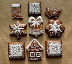Dekoratívne medovníky - Fotoalbum - Vianočné Holiday Treats, Christmas Treats, Christmas Cookies, Holiday Recipes, Spice Cookies, Ginger Cookies, Sugar Cookies, Cute Baking, Food Fantasy