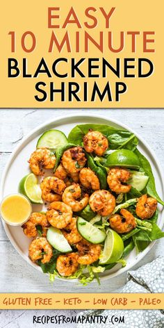 This 10 Minute Blackened Shrimp recipe is one of the most delicious and easiest meals out there. Blackened Shrimp are so flavorful and super versatile. Easy Potluck Recipes, Healthy Potluck, Healthy Comfort Food, Lunch Recipes, Salad Recipes, Easy Meals, Summer Recipes, Keto Recipes, Healthy Eating