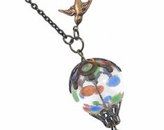 Hot Air Balloon Pendant Necklace Jewelry Jewellery - Flying Polk-A-Dots